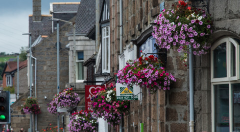 Inverurie hanging baskets.